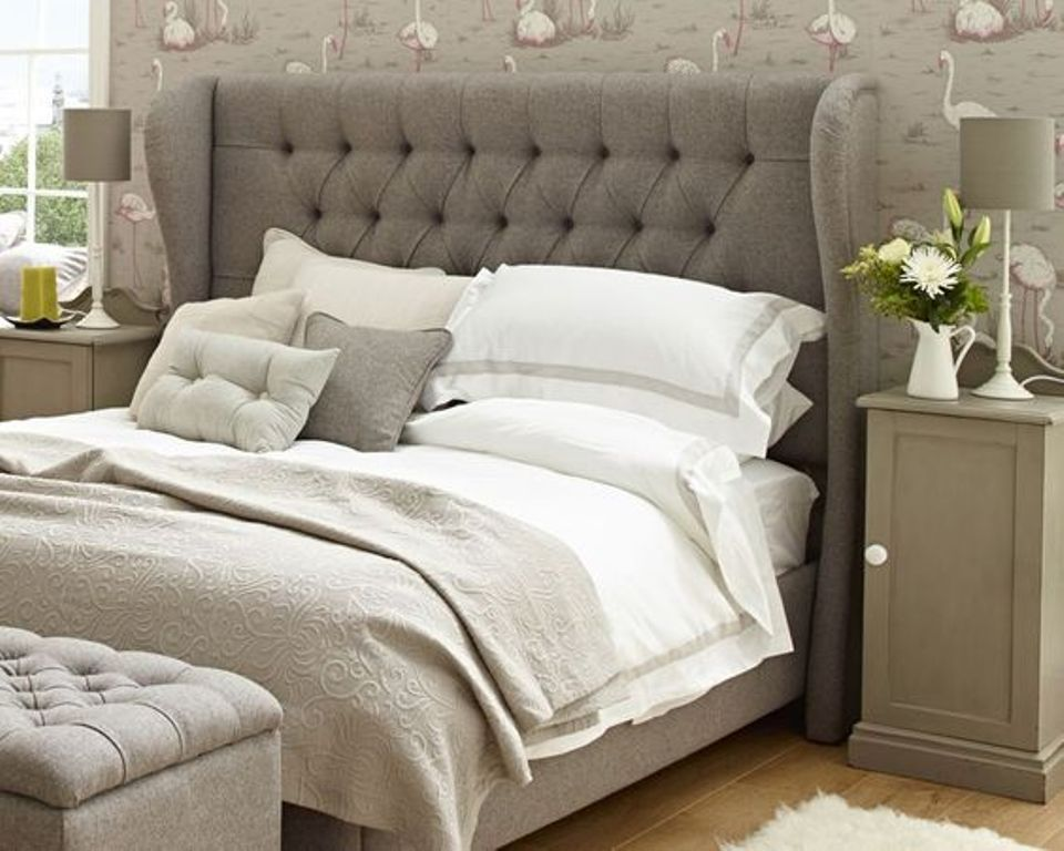 Image of: Gray Upholstered Headboard with Jewel Buttons