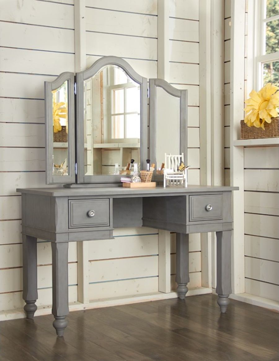 Image of: Gray Vanity Desk With Mirror