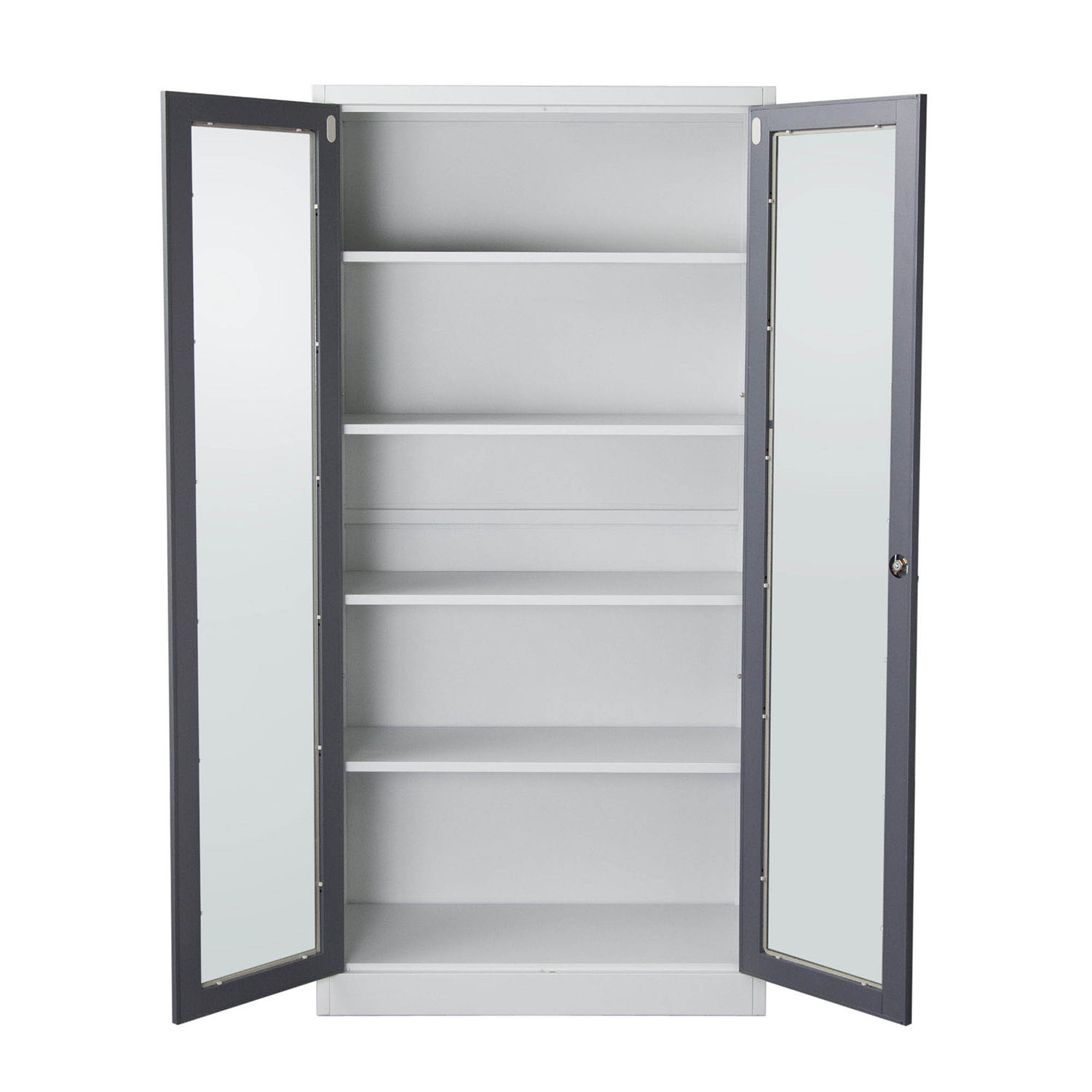 Image of: Grey Bookcase with Glass Door
