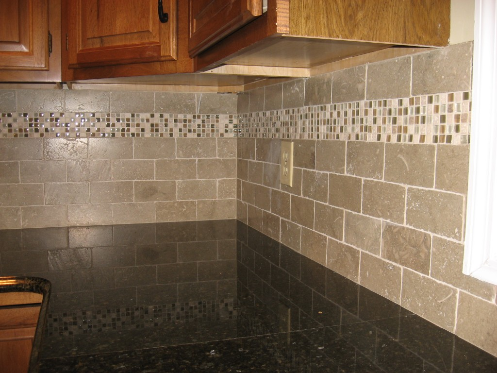 Image of: grey glass tile backsplash pictures
