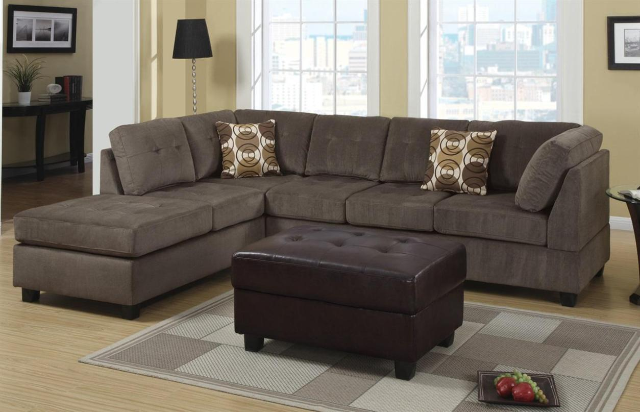 Image of: Grey Microfiber Sectional Couch