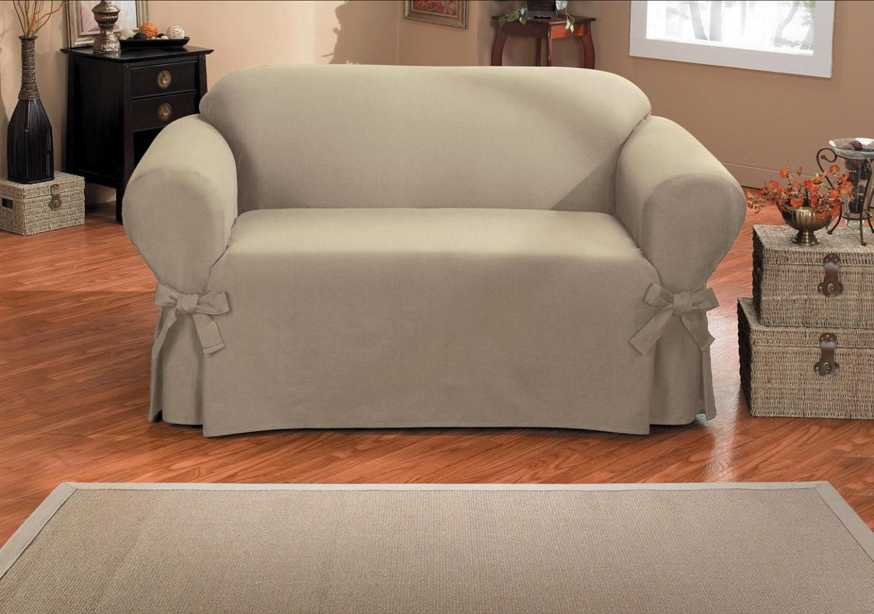 Image of: Grey Slipcover Sofa