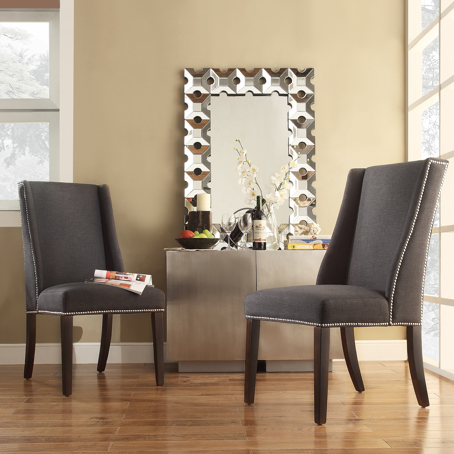 Image of: Grey Wingback Dining Chair