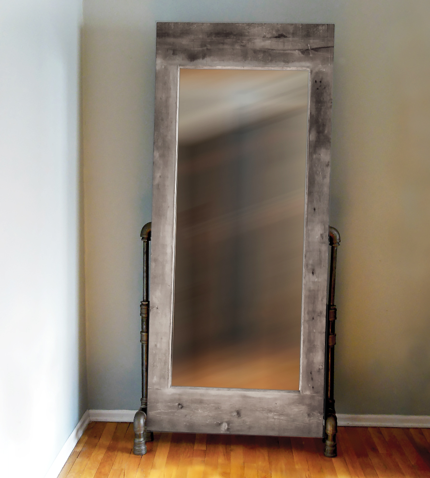 Image of: Grey Wood Frame Full Length Mirror