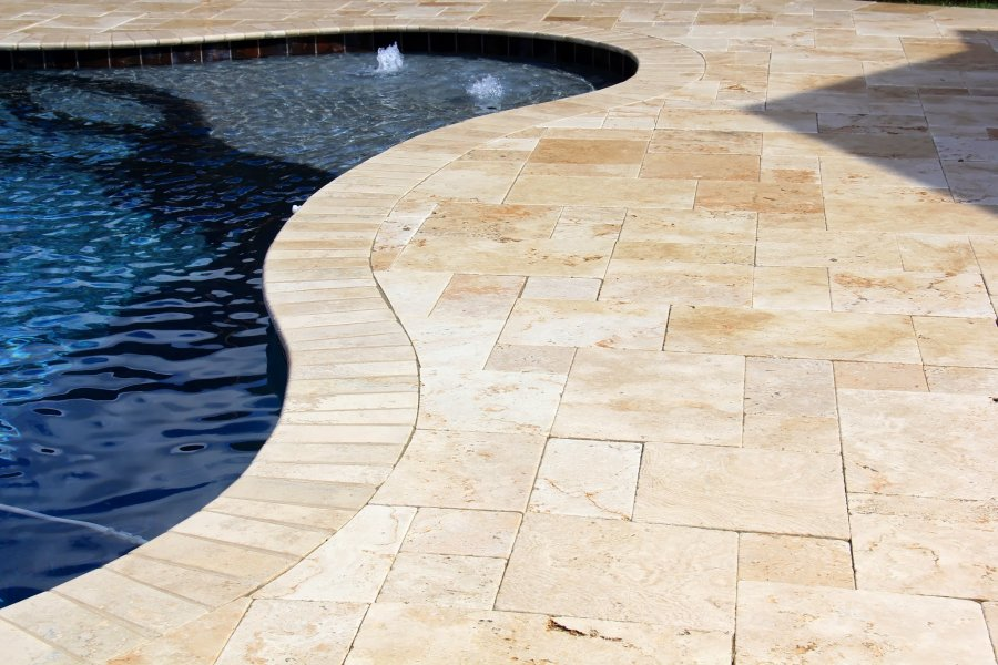 Image of: How to Clean Travertine Pool Deck