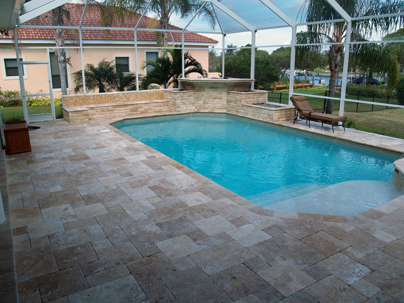 Image of: How to Install Travertine Pool Deck