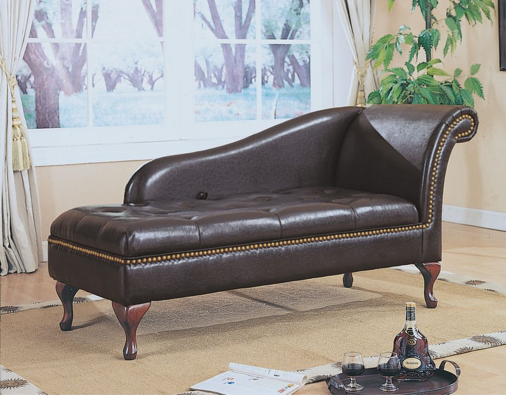Image of: Indoor Chaise Lounge Chairs Leather