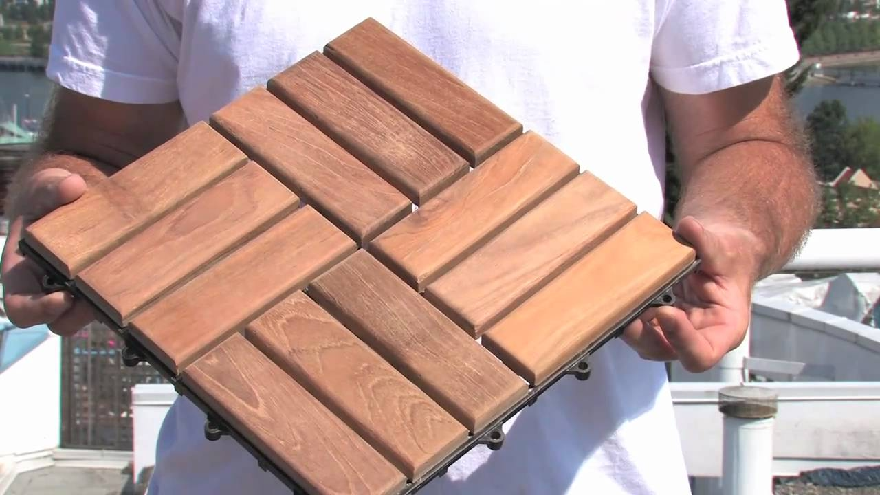 Image of: Interlocking Wood Deck Tiles Install