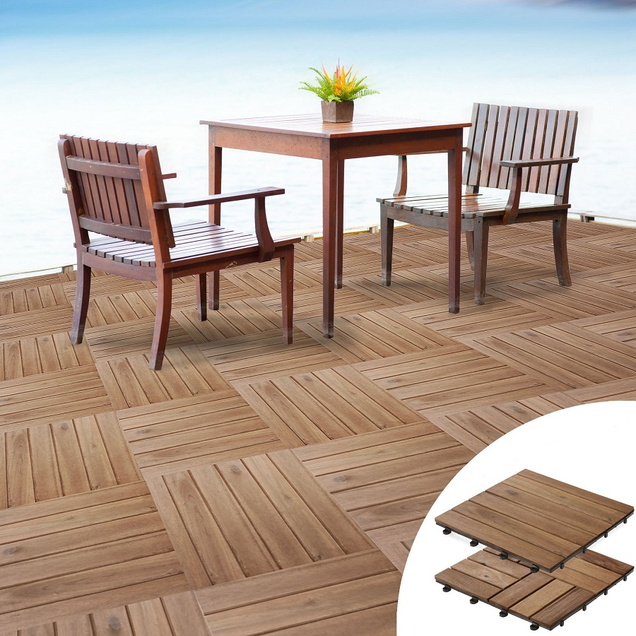 Interlocking Wood Deck Tiles System