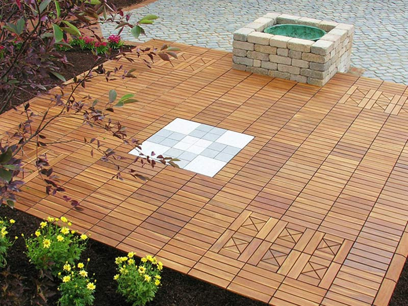 Image of: Interlocking Wood Deck Tiles Teak
