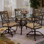 Iron Dining Chairs with Casters