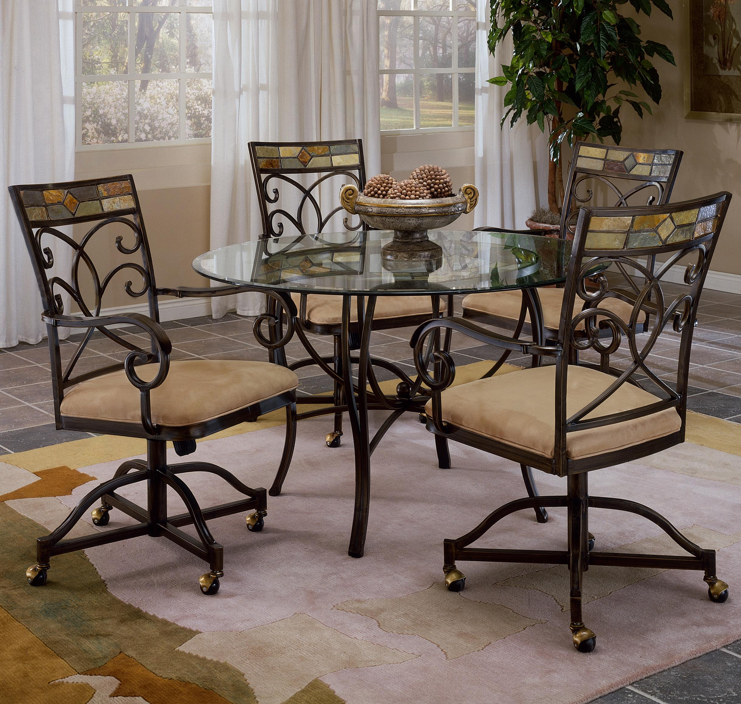 Image of: Iron Dining Chairs with Casters