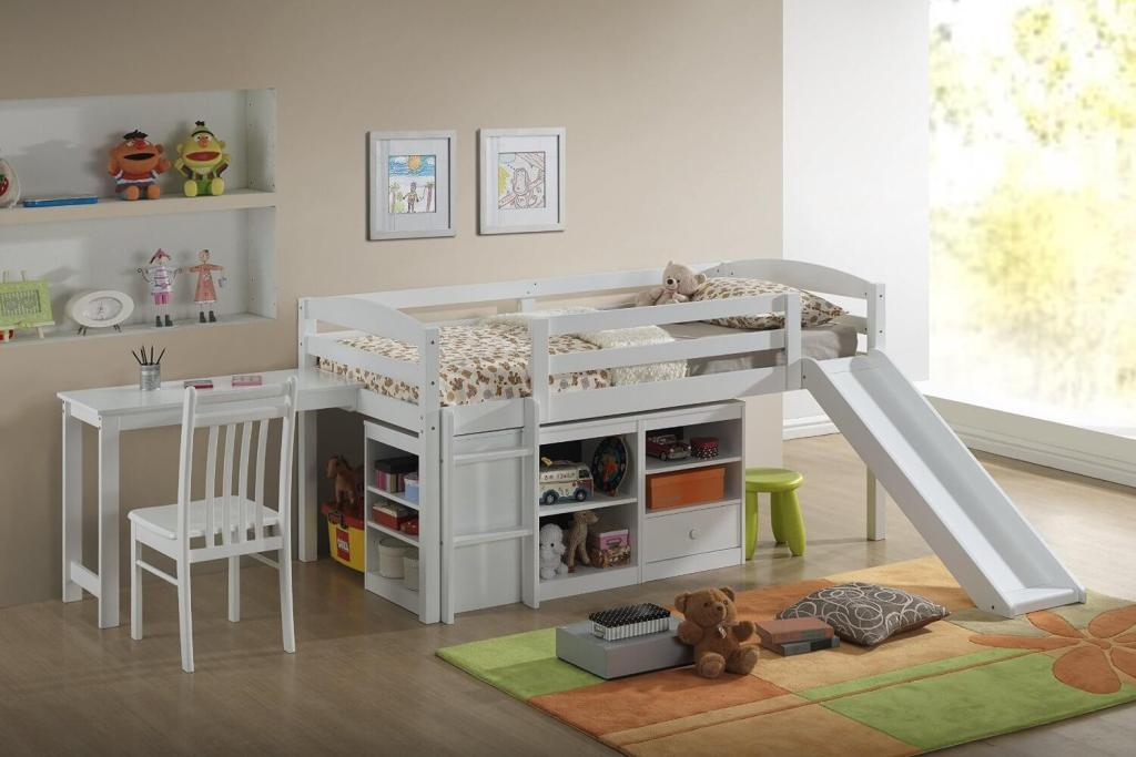 Image of: Kids' Tent Twin Loft Bed With Slide
