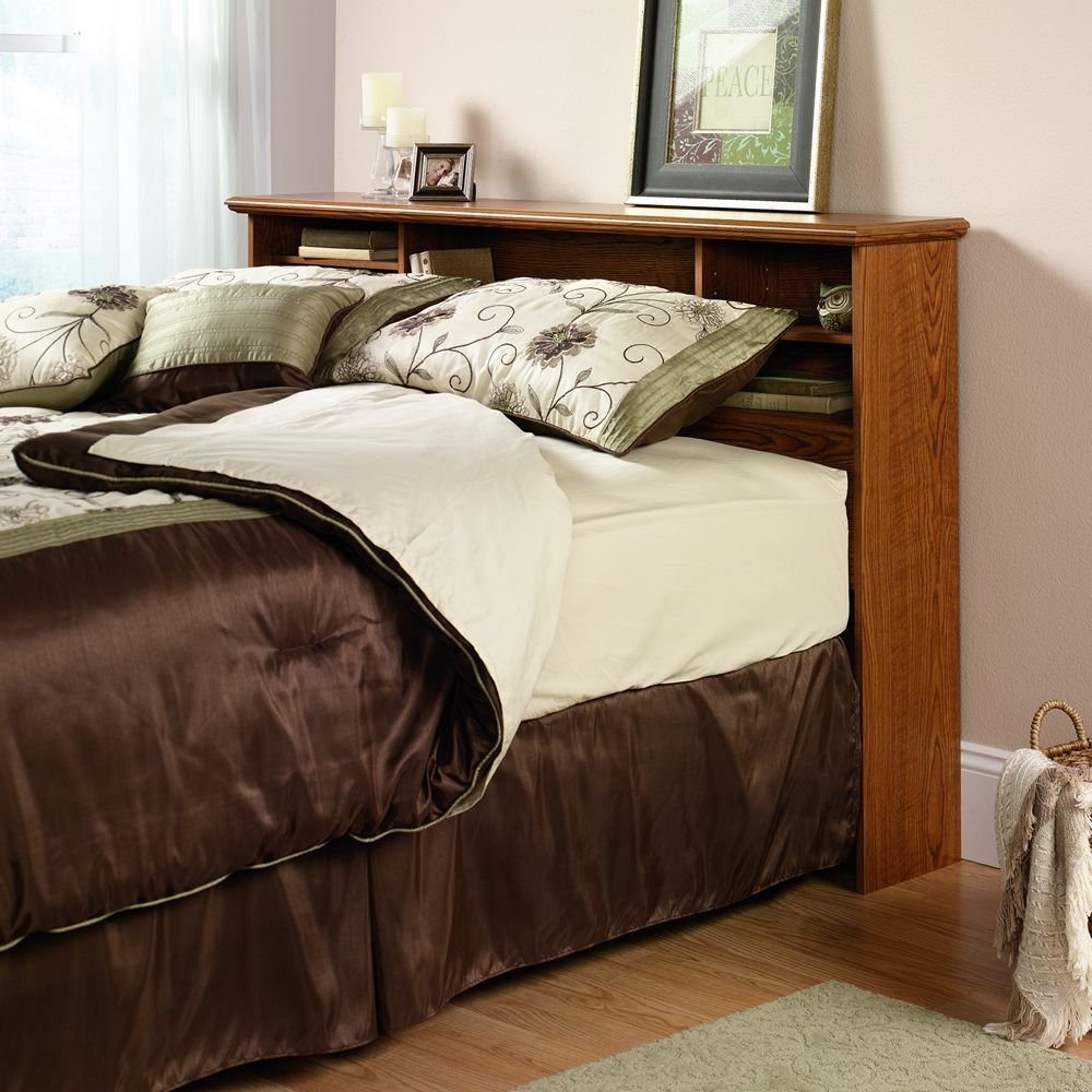 Image of: King bookcase headboard  brown