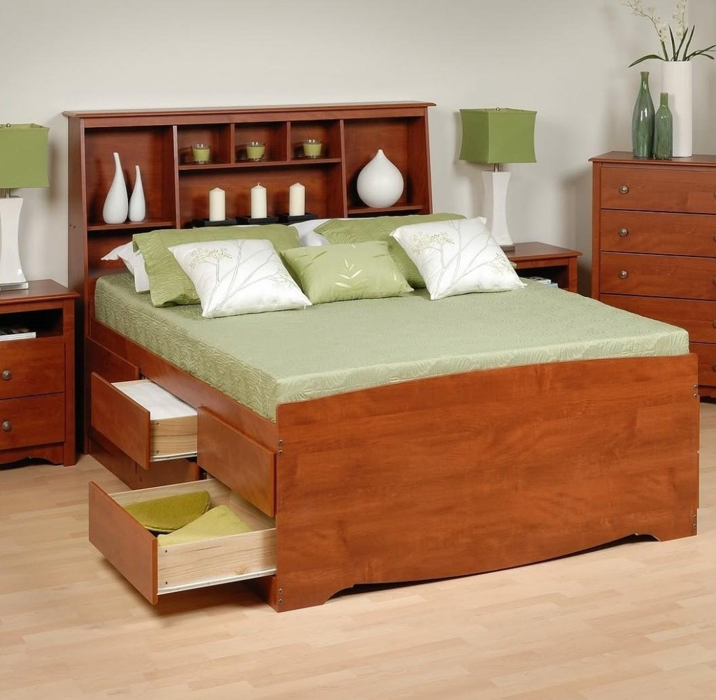 Image of: King bookcase headboard  green