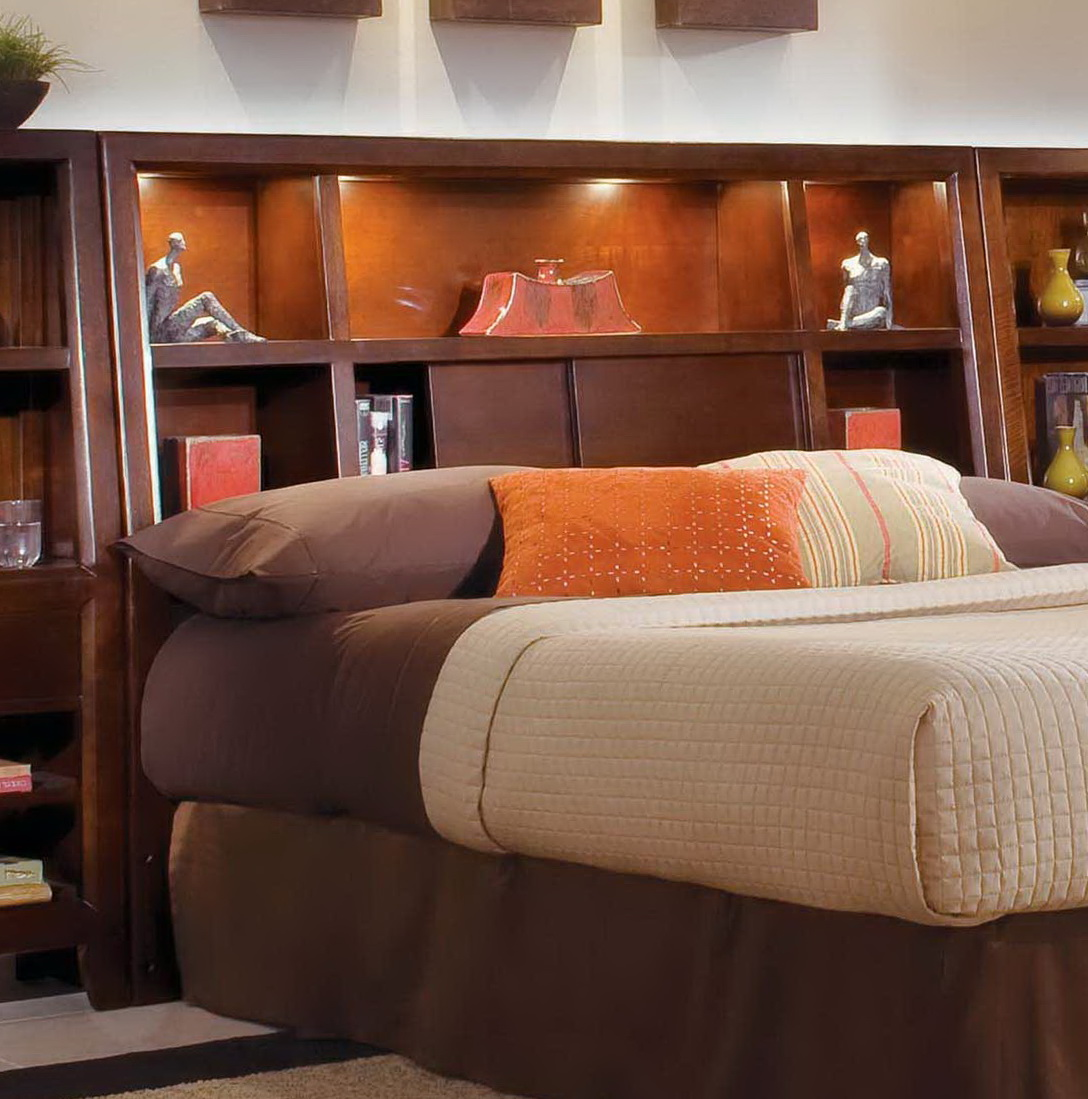 Image of: king size bookcase headboard with lights