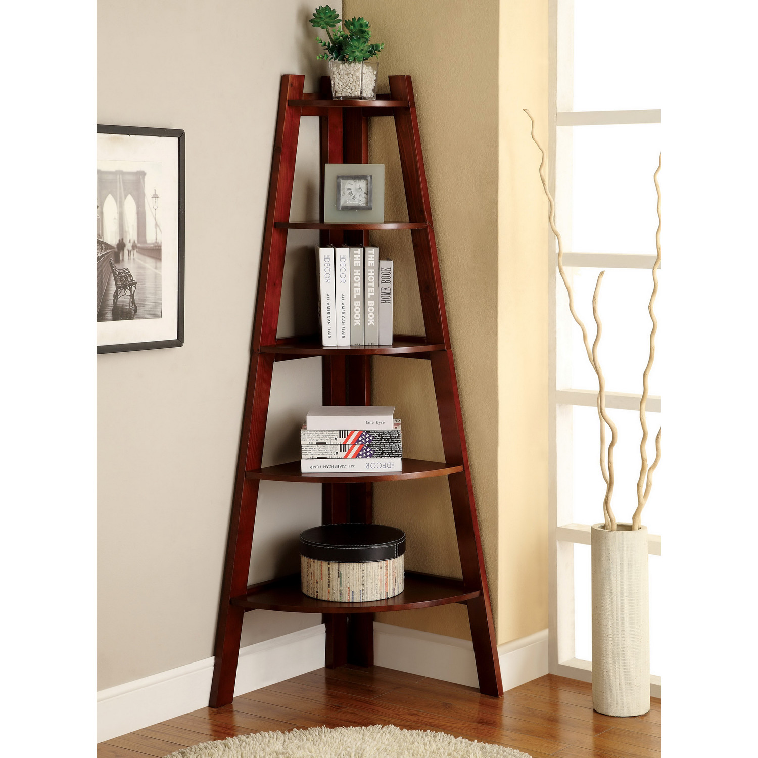 Image of: Ladder Corner Bookcase