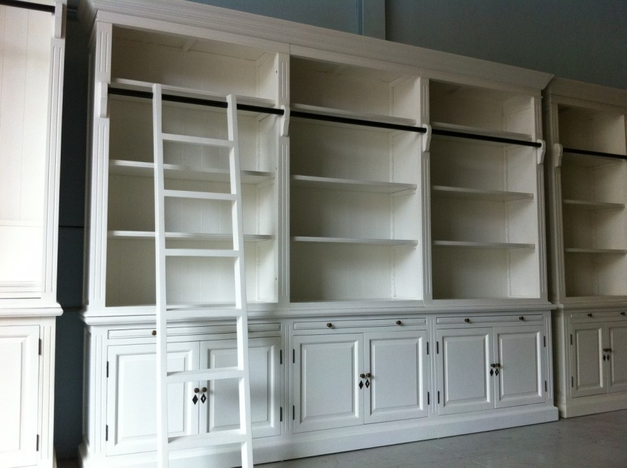 Image of: Ladder bookcase with a drop down desk