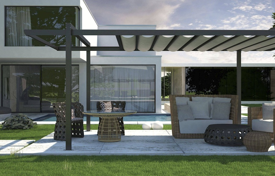 Image of: Large Aluminum Awnings for Decks