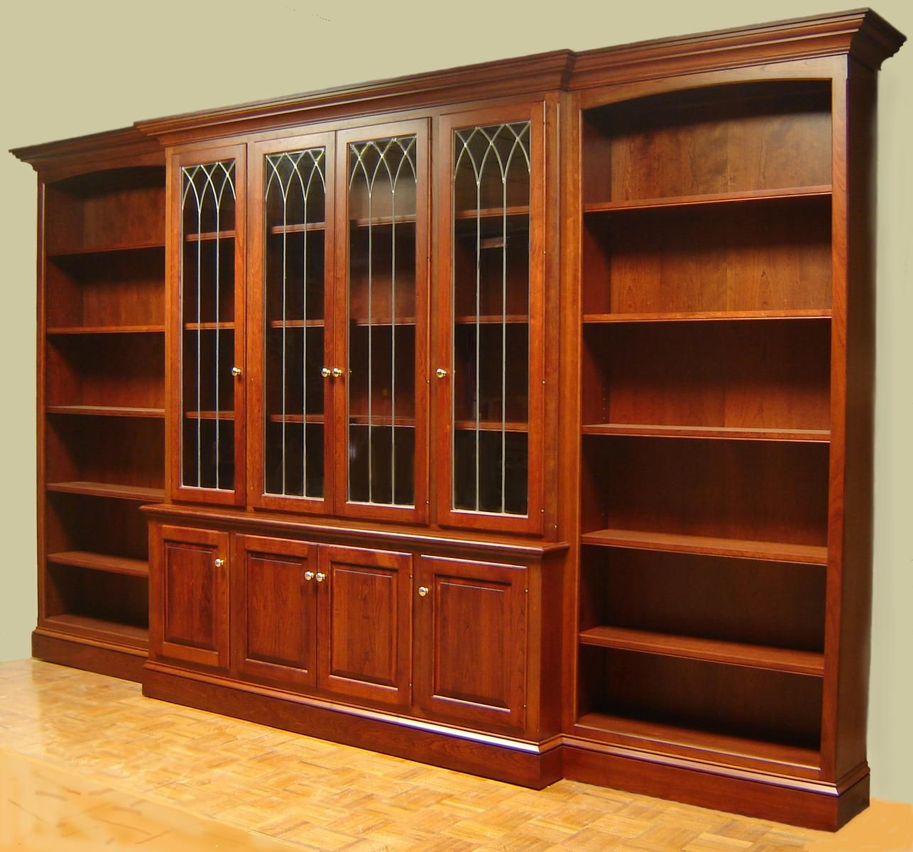Image of: Large Bookcase With Glass Doors
