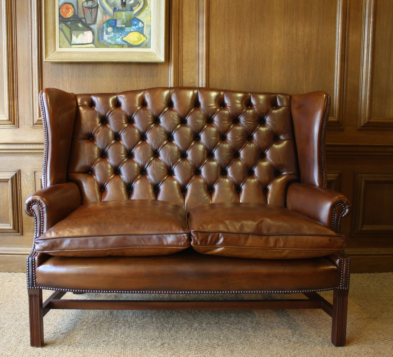 Image of: large leather wingback chair