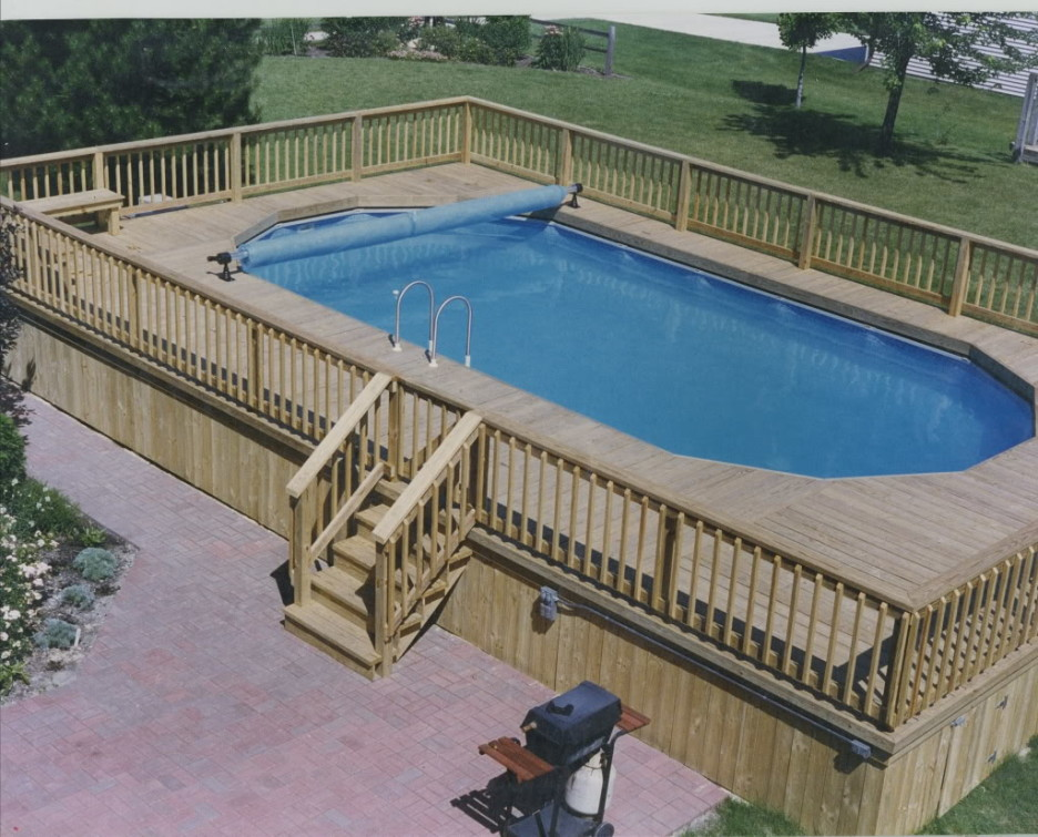 Image of: Large Oval Pool Decks