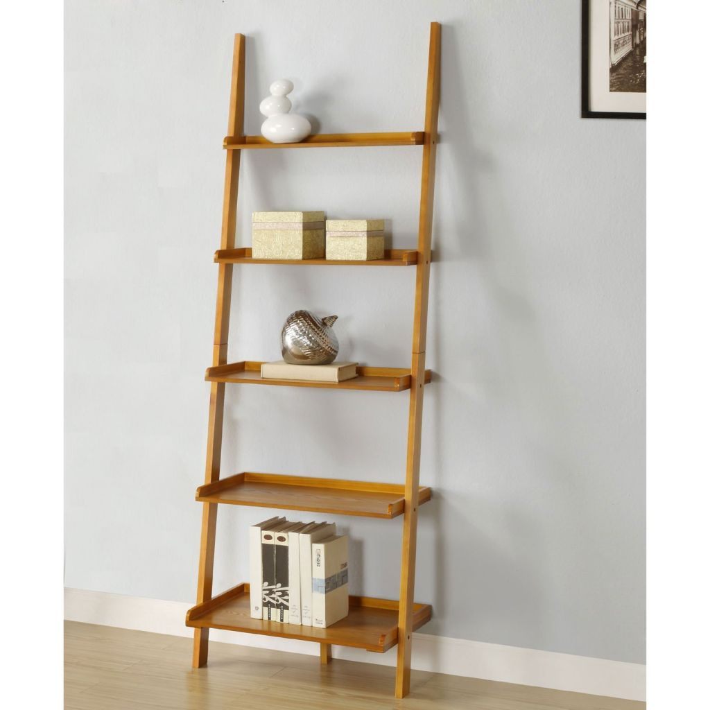 Image of: Leaning Ladder Bookcase Brown