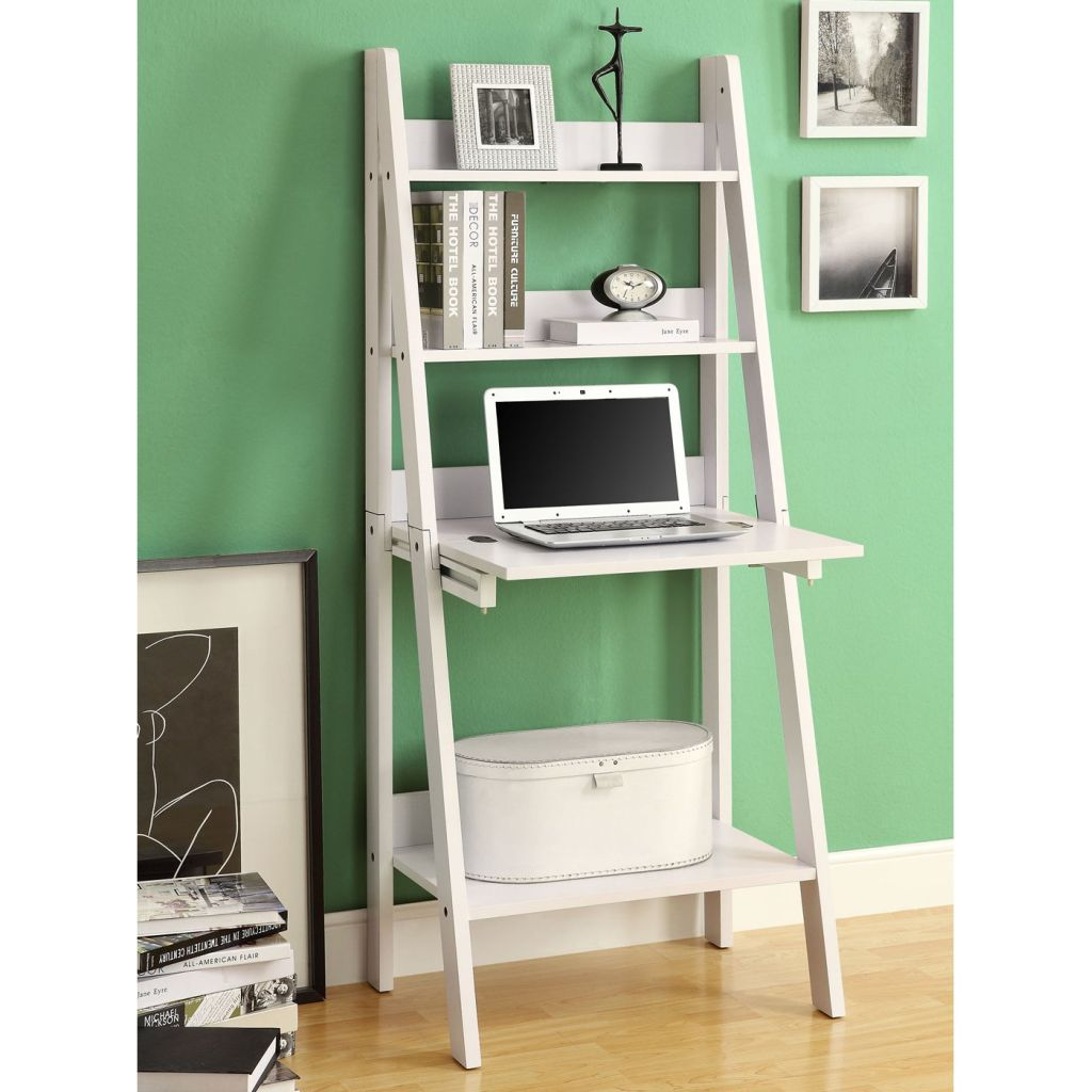 Image of: Leaning Ladder Bookcase Wooden