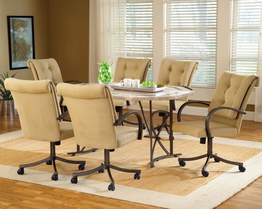 Image of: Leather Dining Chairs with Casters