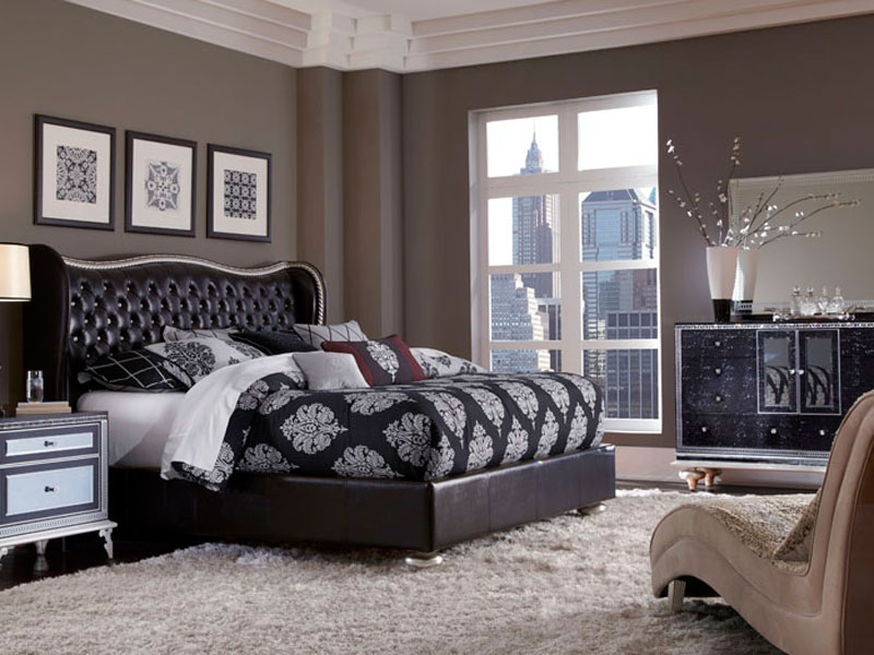 Image of: Leather Hollywood Swank Bedroom Set