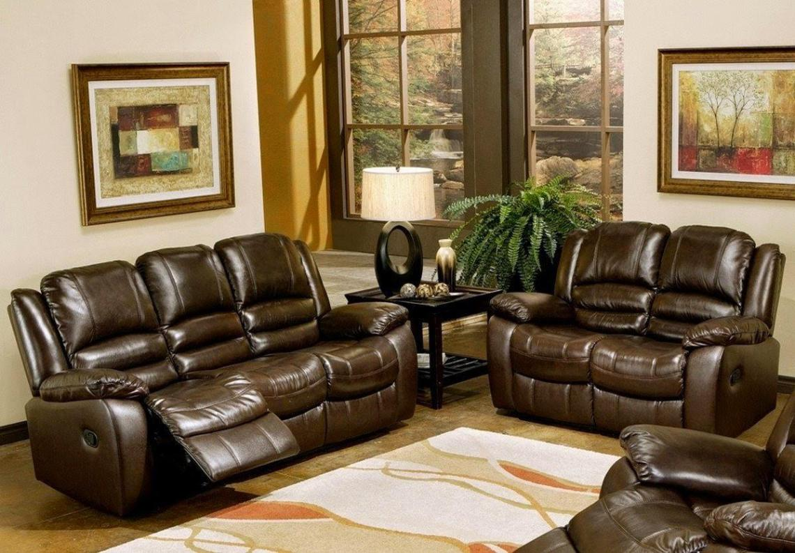 Image of: Leather Recliner Sofa Set
