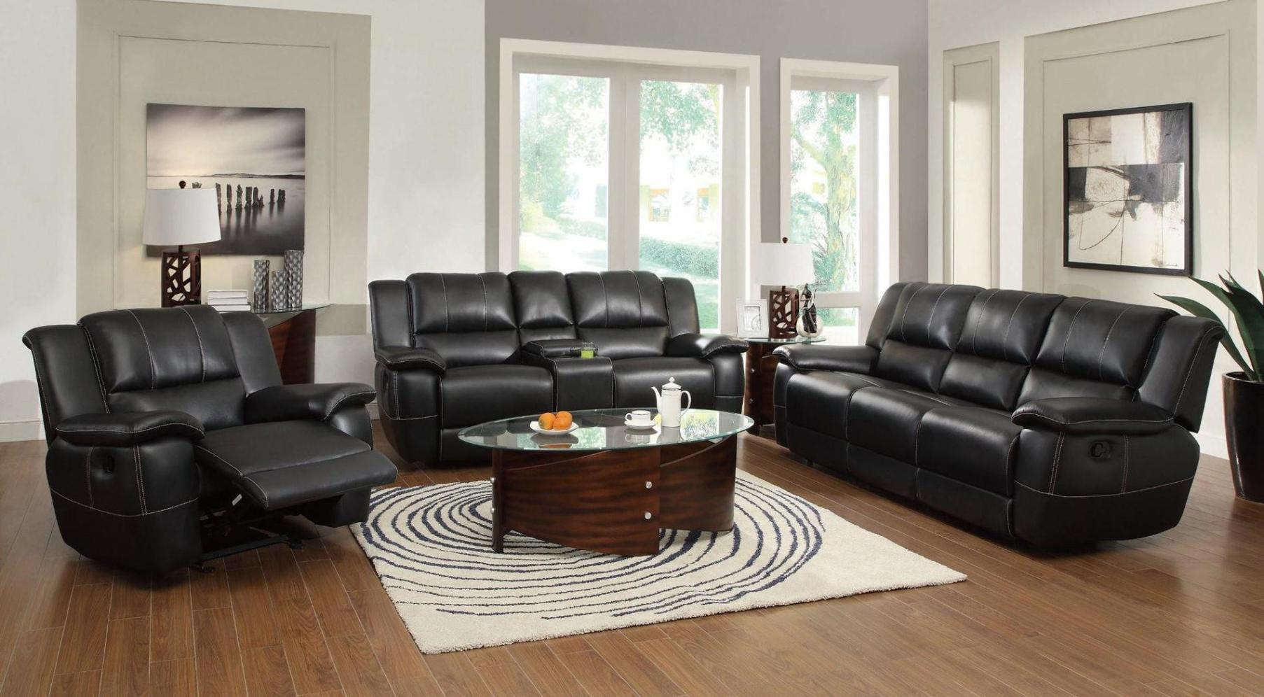 Image of: Leather Reclining Sofa Set