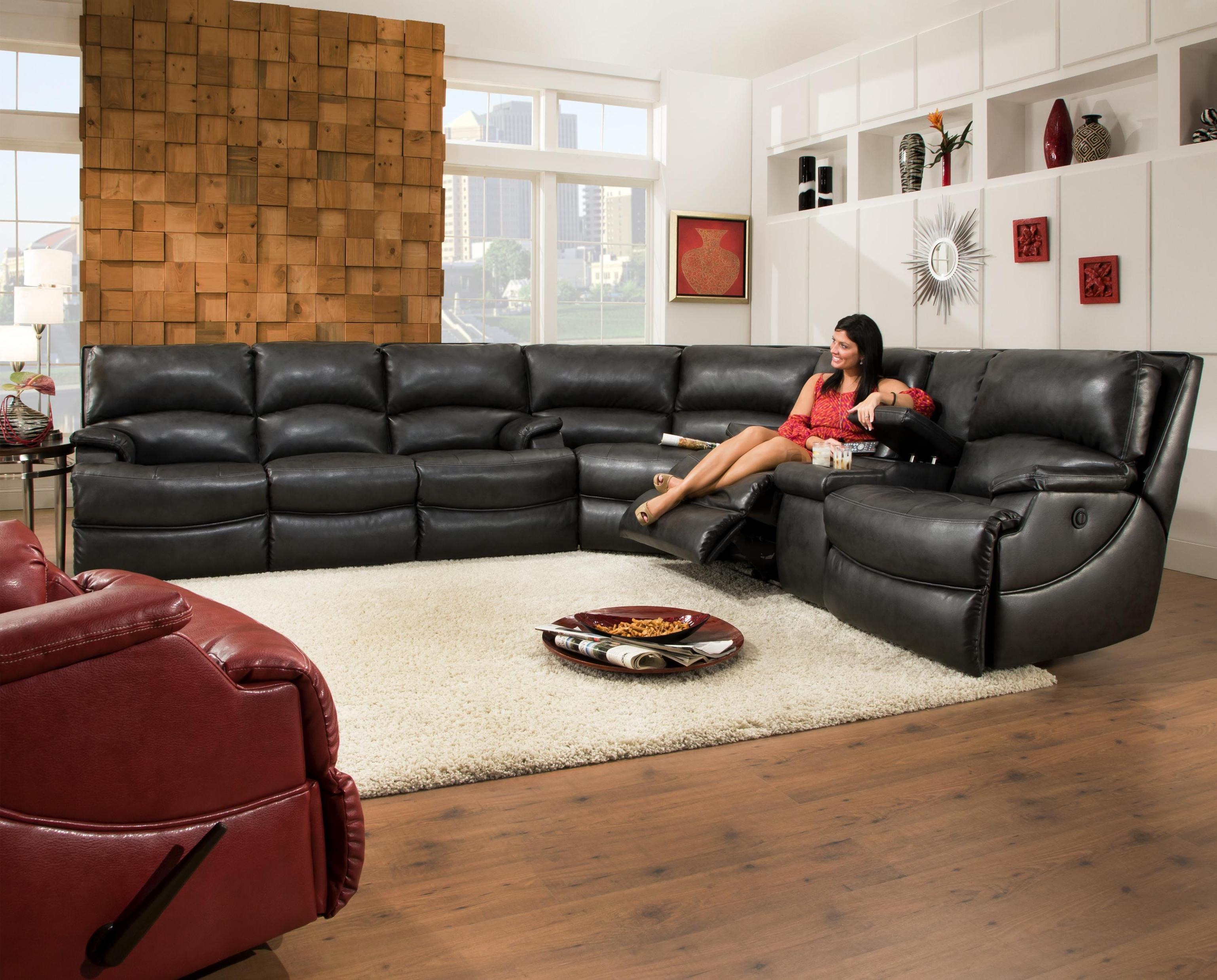 Image of: Leather Sectional Sofas With Recliners Images