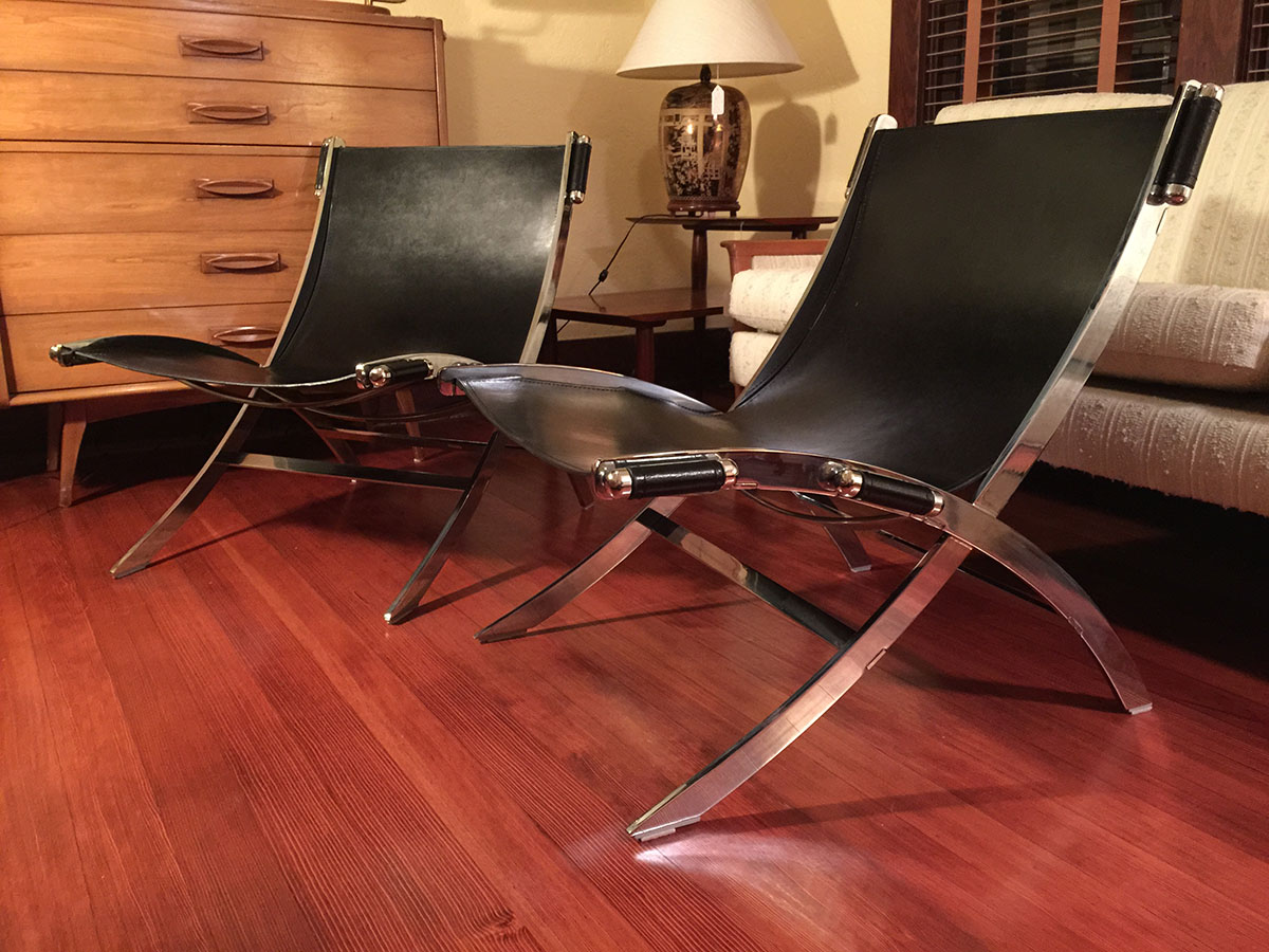 Image of: leather sling chair photo