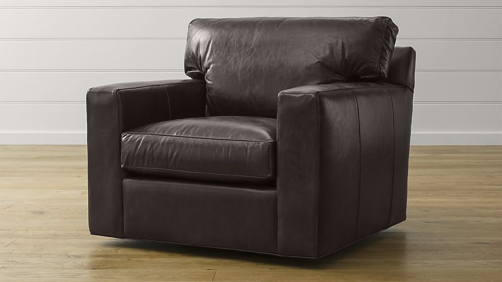 Image of: leather swivel barrel chair