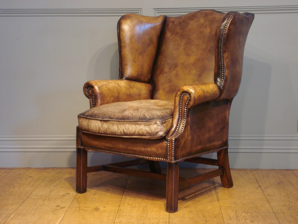 Image of: leather wingback chair design