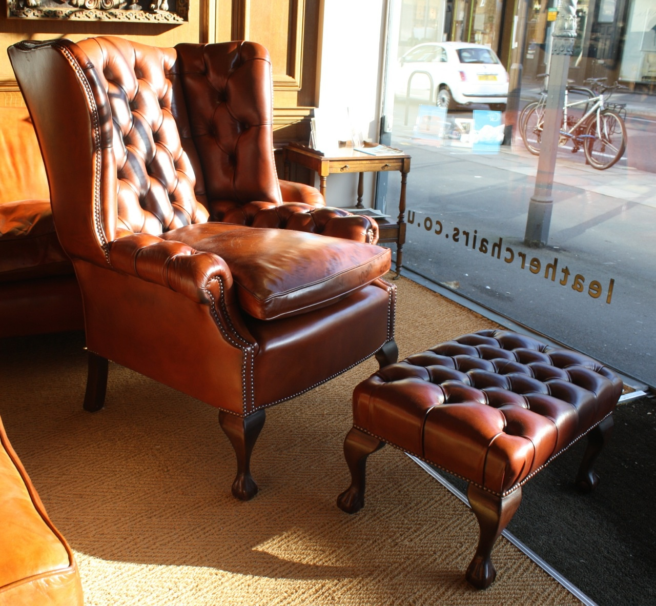 Image of: leather wingback chair photo