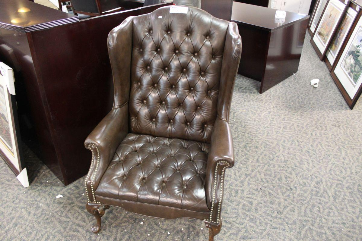 Image of: leather wingback chair style