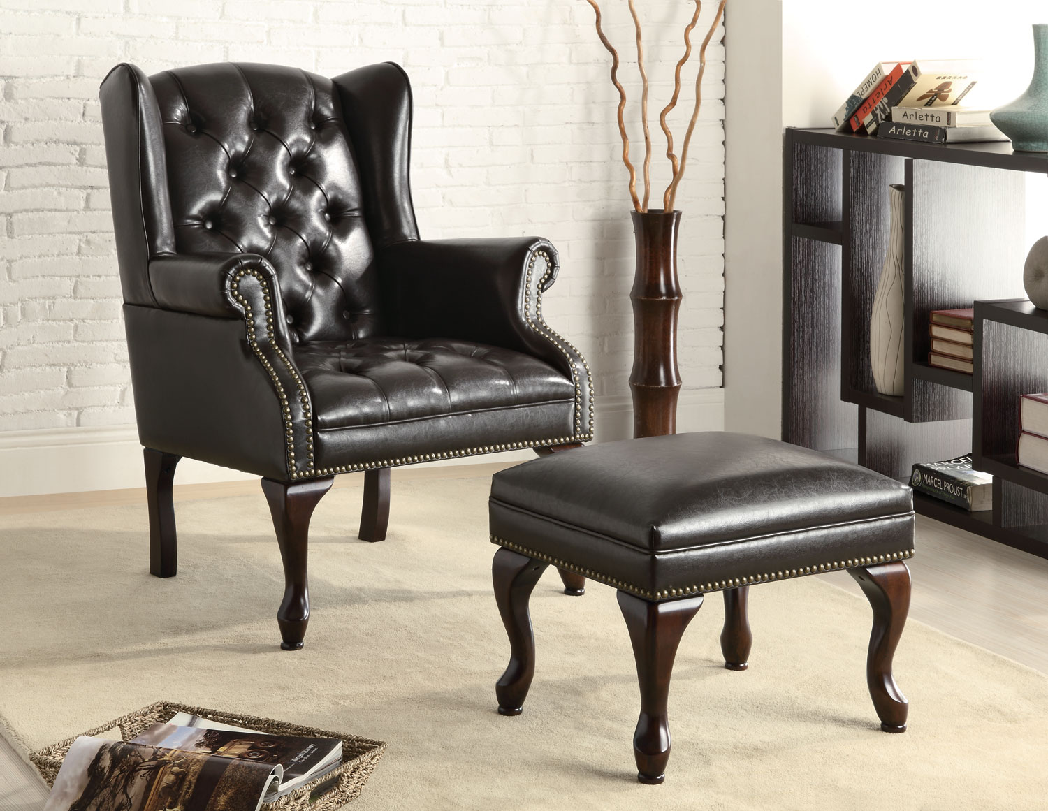Image of: leather wingback chair and ottoman