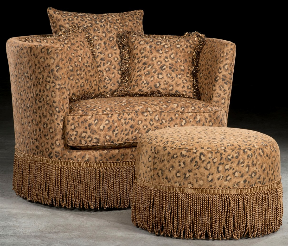 Image of: leopard swivel barrel chair
