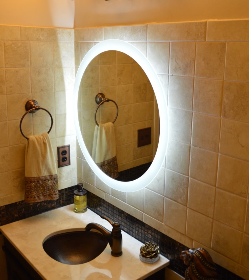Image of: Lighted Wall Mirror Shapes