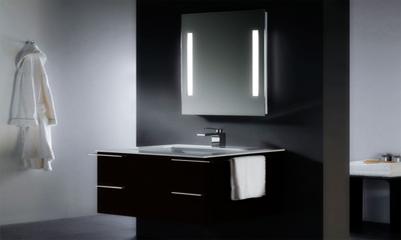 Image of: Lighted Wall Mirror Small