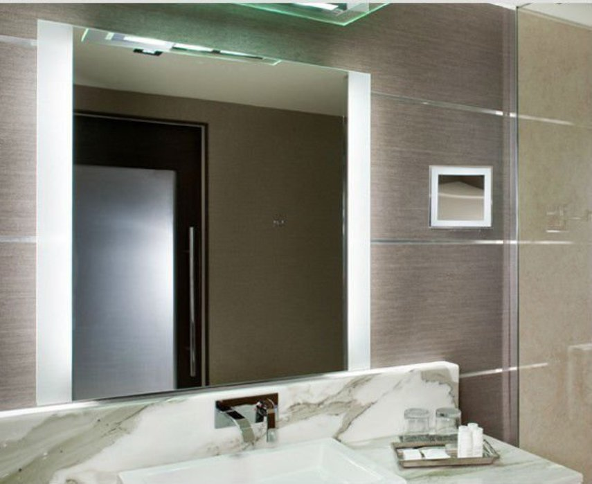 Image of: Lighted Wall Mirror Square