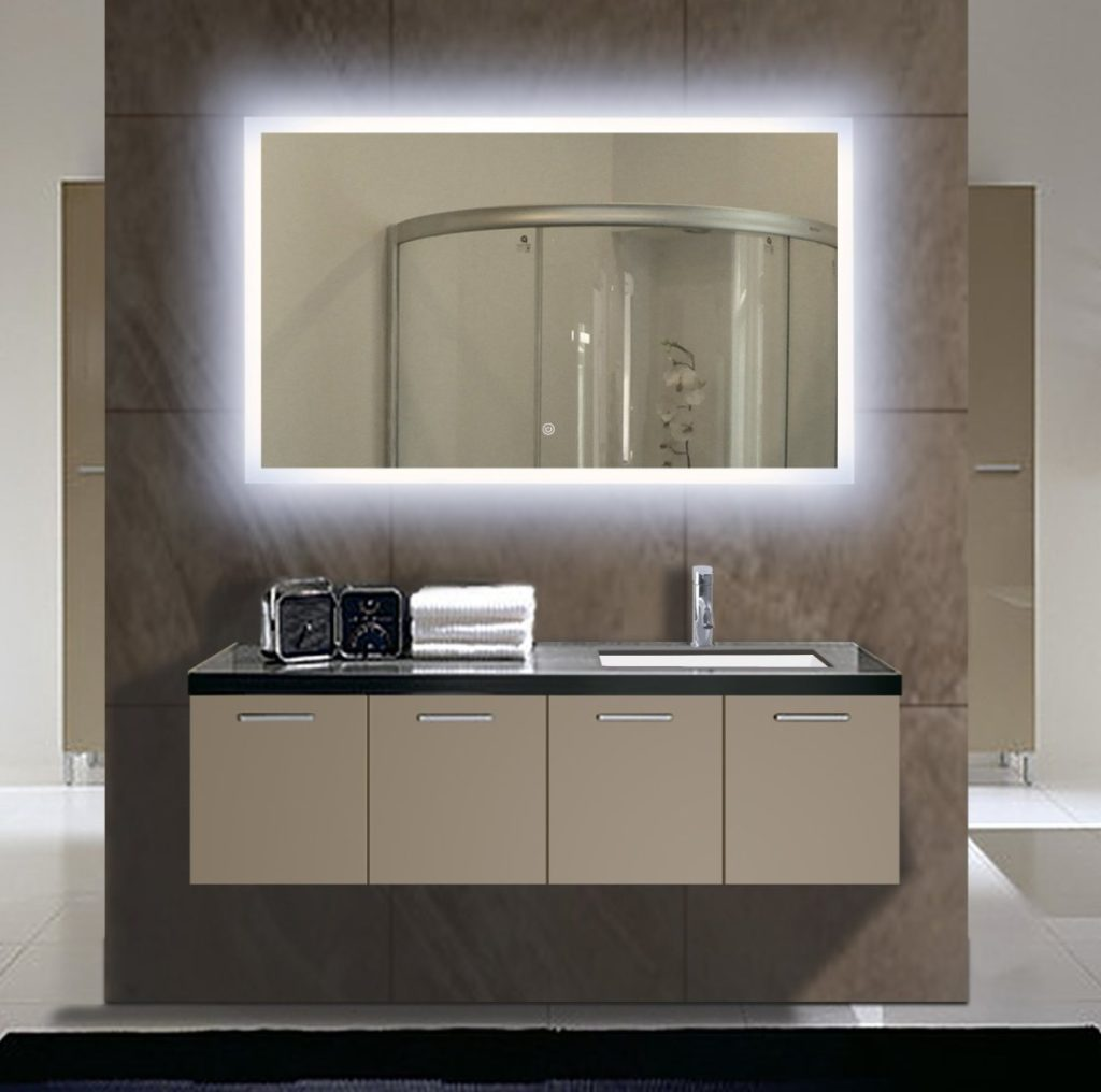 Image of: Lighted Wall Mirror Vanity
