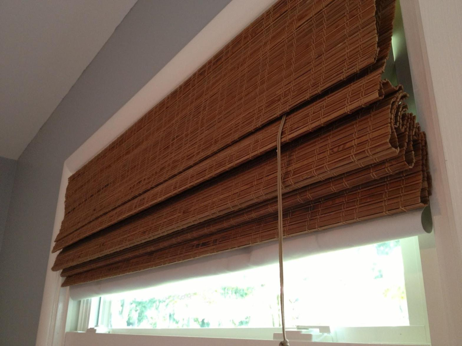Image of: Lined Bamboo Roman Shades