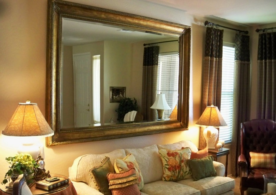 Image of: Living Room Gold Framed Wall Mirror