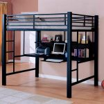 metal loft bed with corner desk Compact  Slate   Pillows