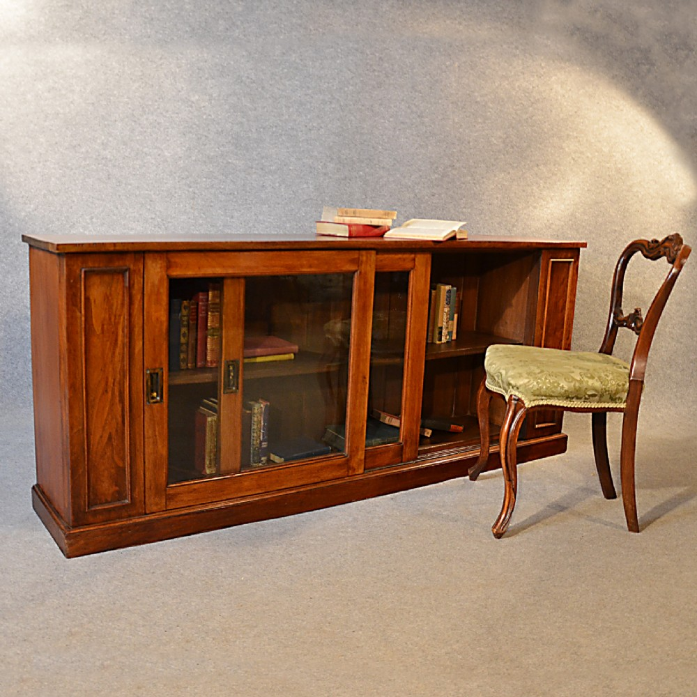 Image of: Long Low Bookcase brown