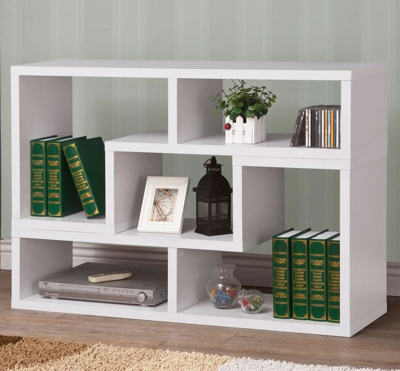 Image of: Low Modern White Bookcase