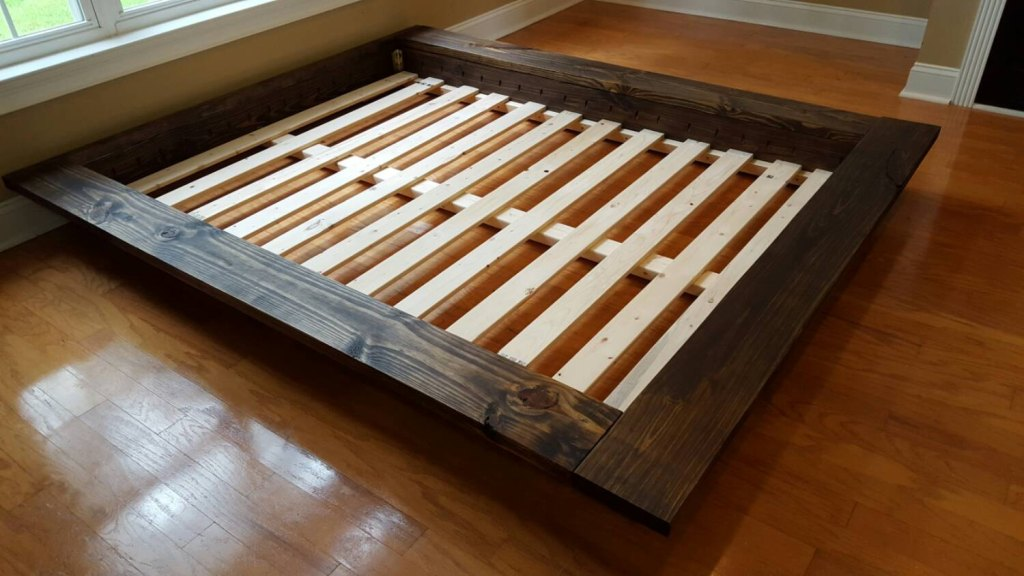 Image of: Low Profile Bed Frame Woods